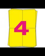 DPD A4 Etiketten auf Bogen, 4 x A6 Etiketten, 400 Stück pro Packung, permanent, gelb, 105mm x 148mm