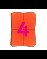 DPD A4 Etiketten auf Bogen, 4 x A6 Etiketten, 400 Stück pro Packung, permanent, rot, 105mm x 148mm