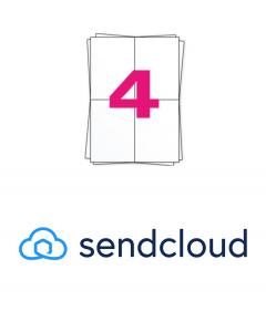 SendCloud Versandetiketten A4 auf Bogen, 4 x A6 Etiketten, 400 Etiketten pro Packung, permanent, weiß, 104mm x 148mm