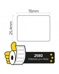 Zebra Z-Select 2000T Etiketten Etiketten (800263-105) kompatibel, 76mm x 25,4mm, 2580 Etiketten, weiß, 25mm Kern, permanent