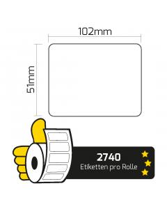 Zebra Z-Perform 1000T (3005676) Kompatible Thermoetiketten, Transferpapier, 102mm x 51mm, 2740 Etiketten, weiß, 76mm Kern, permanent