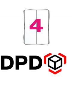 DPD Versandetiketten A4 auf Bogen, 4 x A6 Etiketten, 400 Etiketten pro Packung, permanent, weiß, 104mm x 148mm