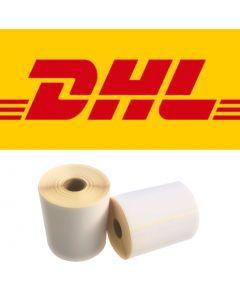 CAB DHL Versandetiketten, DHL Label, 102mm x 210mm, 210 Etiketten, ECO, weiß, 25mm Kern, permanent, gelb