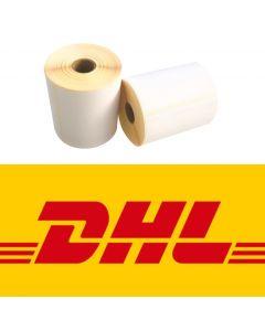 CAB kompatible DHL Versandetiketten, DHL Label, 102mm x 210mm, 195 Etiketten, ECO, weiß, 25mm Kern, permanent, gelb