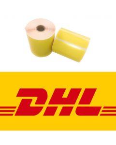 DHL Versandetiketten, DHL Label, 102mm x 210mm, 195 Etiketten, ECO,  weiß, 25mm Kern, permanent, gelb