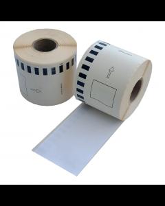Brother DK-11208 kompatible Etiketten, Format 38mm x 90mm, 400 Etiketten pro Rolle, permanent, weiß