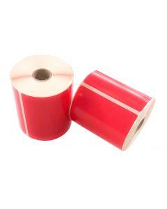 Thermische VersandEtiketten, 102mm x 150mm, 280 Etiketten, 25mm Kern, permanent, rot