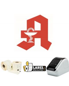 Kombi-Paket Apotheke: Brother QL810W + 10 Rollen DK22205 + Halterung