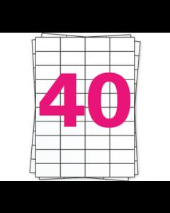 A4 Stickerbögen, 40 pro Bogen, permanent, weiß, 52mm x 30mm