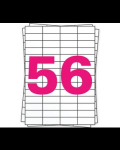 A4 Stickerbögen, 56 pro Bogen, permanent, weiß, 52mm x 21mm