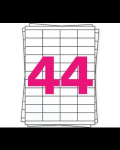 A4 Stickerbögen, 44 pro Bogen, permanent, weiß, 48,5mm x 25,4mm