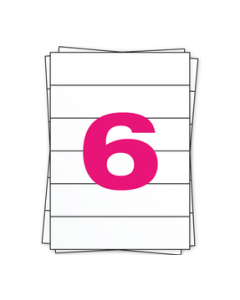 A4 Stickerbögen, 6 pro Bogen, permanent, weiß, 210mm x 49,4mm