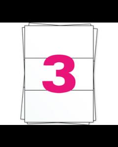 A4 Stickerbögen, 3 pro Bogen, permanent, weiß, 98.5mm x 210mm