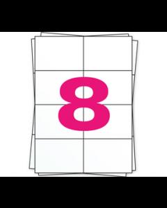 A4 Stickerbögen, 8 pro Bogen, permanent, weiß, 105mm x 74mm