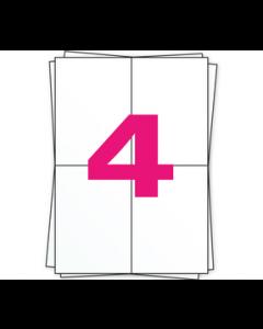 A4  Stickerbögen, 4 x A6 Etiketten, 4 pro Bogen, permanent, weiß, 104mm x 148mm